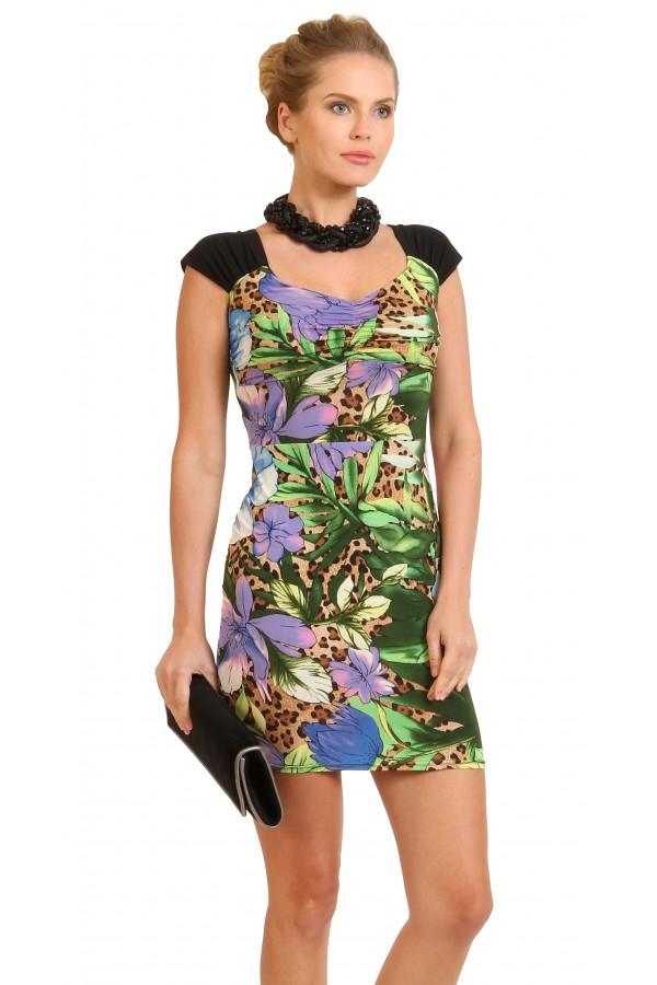 Летнее платье-мини в цветок