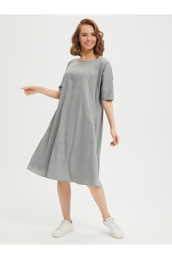 9664 Платье свободного кроя А-силуэта.