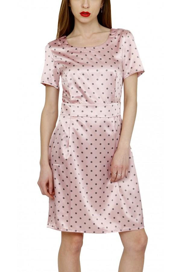 Платье в горох атласное