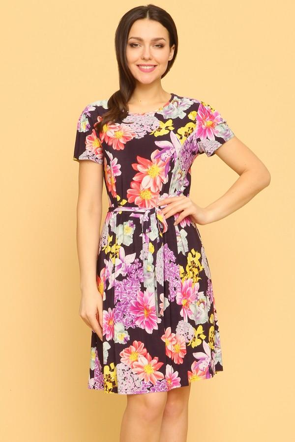 9889 Платье с цветочным принтом