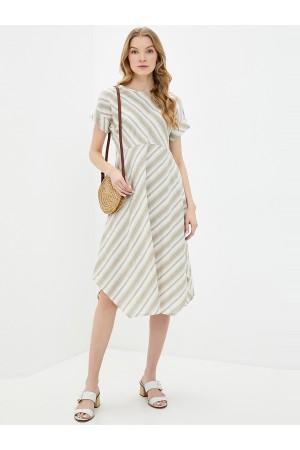 9673 Платье льняное в полоску