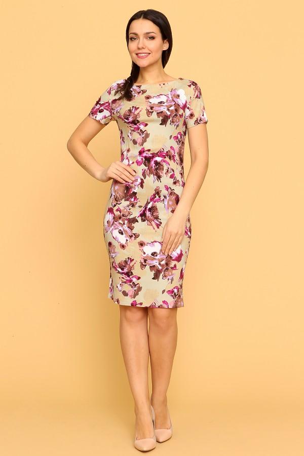 9891 Платье-футляр с цветочным принтом
