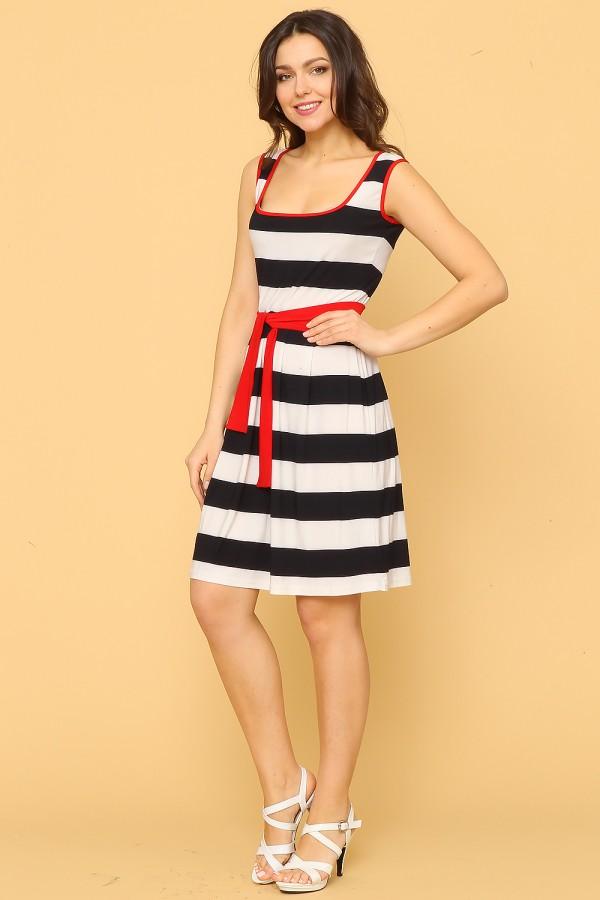 9915 Платье в бело-синюю полоску