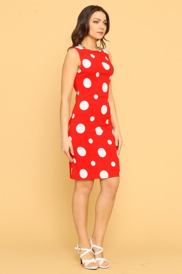 9917 Летнее платье-футляр в крупный горох
