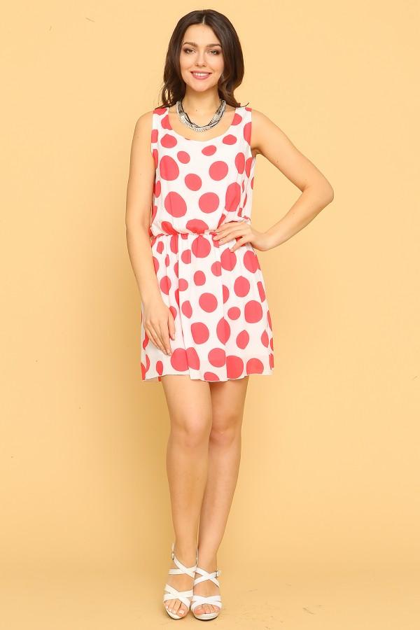 9913 Платье летнее в красный горох