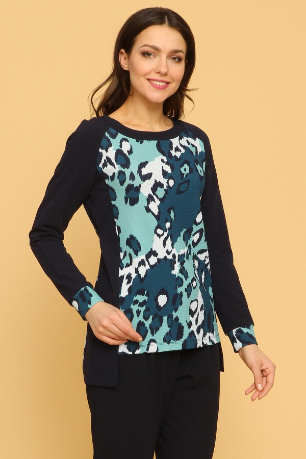 9920 Модный комбинированная женская блузка