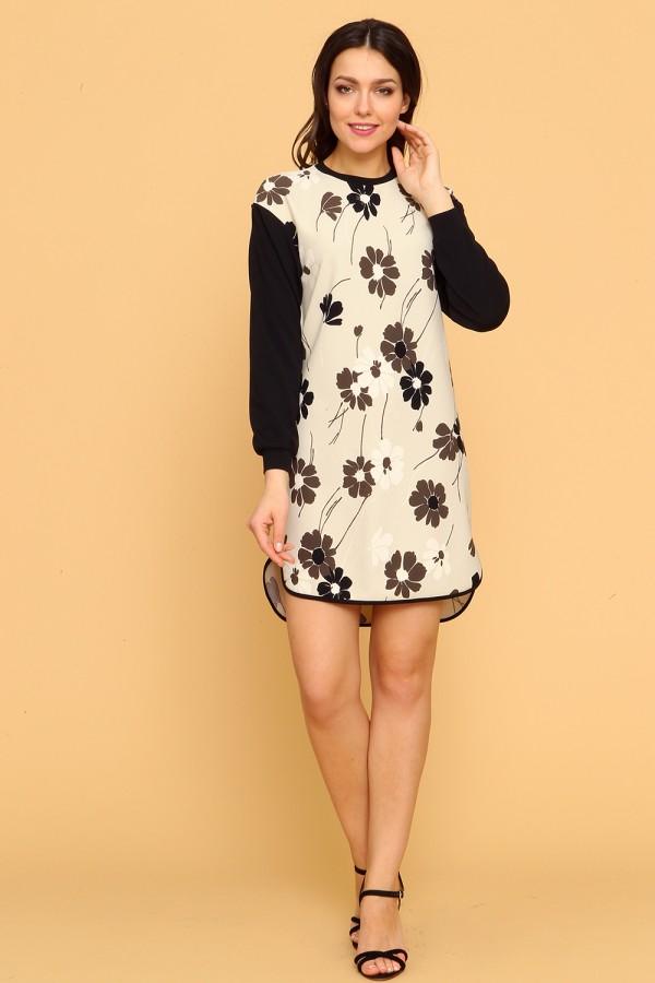 9900 Платье-туника в цветок.