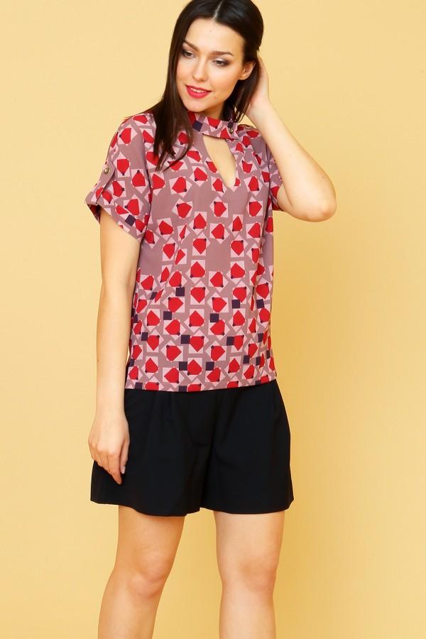 9859 Летняя блузка с коротким рукавом и стойкой