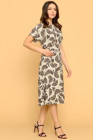 9856 Летнее платье с цельнокроенным коротким рукавом