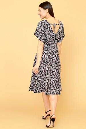 9857 Летнее платье с цельнокроеным коротким рукавом