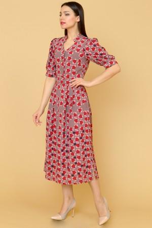 9877 Платье миди с отрезным лифом.