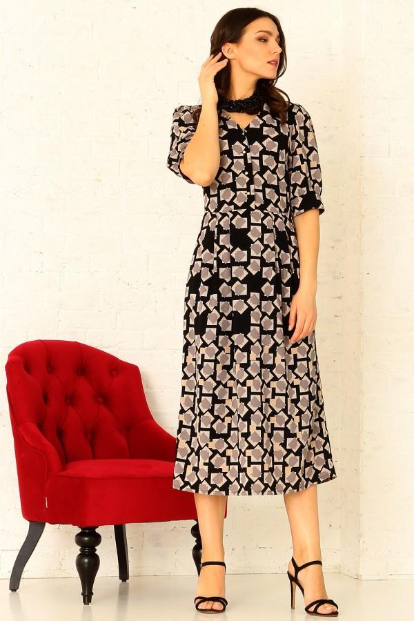 9878 Платье миди с карманами.