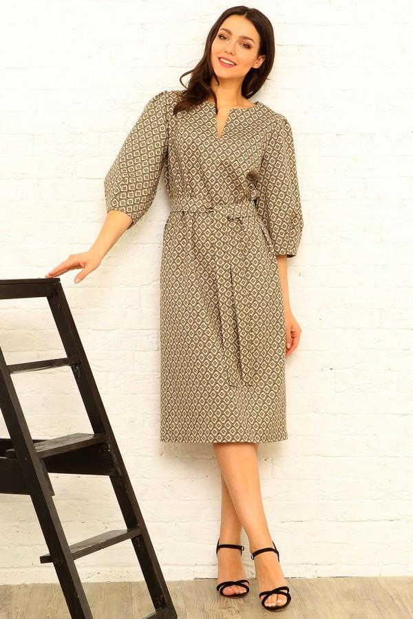 9881 Платье миди с рукавом 3/4.