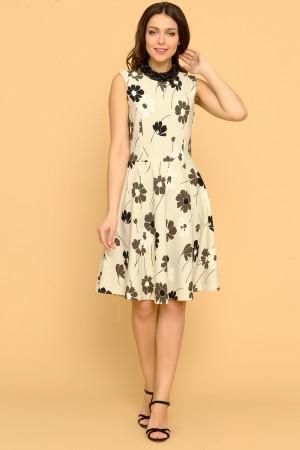 9874 Платье приталенное, с отрезным лифом.