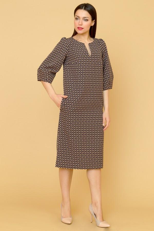 9880 Платье миди с рукавом 3/4.