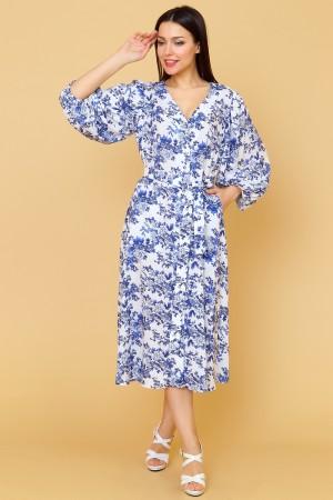 9852 Летнее платье с пышным рукавом.