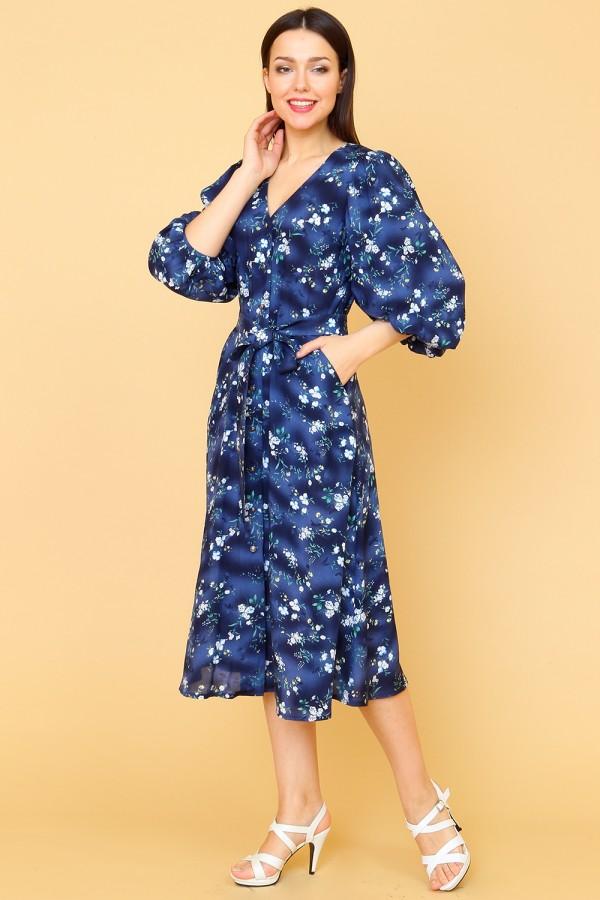 9853 Летнее платье с пышным рукавом.