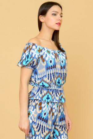 9868 Женская блузка с открытыми плечами
