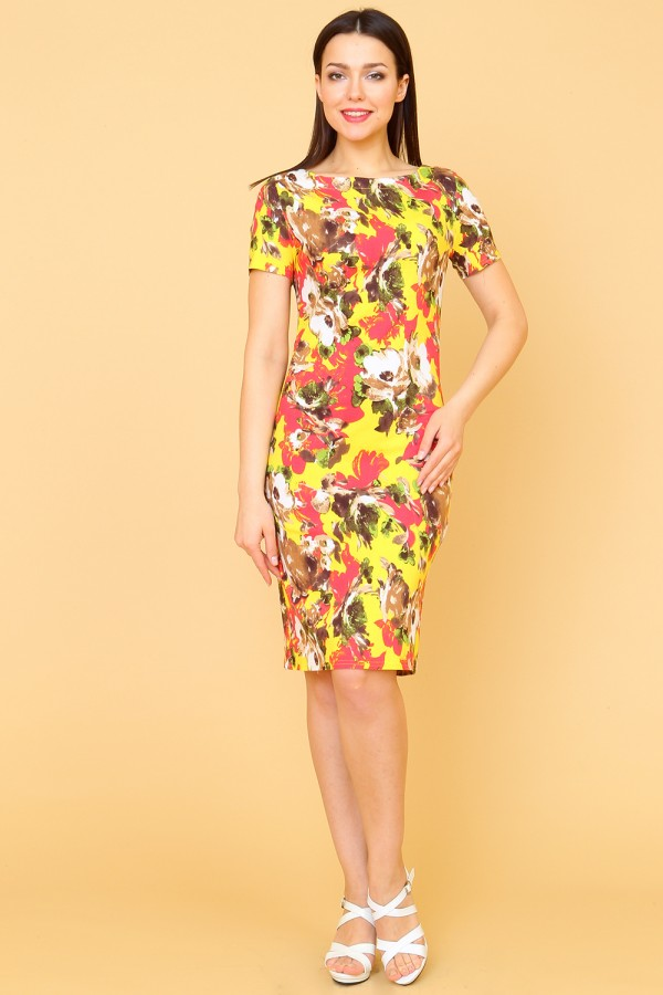 9884 Платье-футляр в цветок