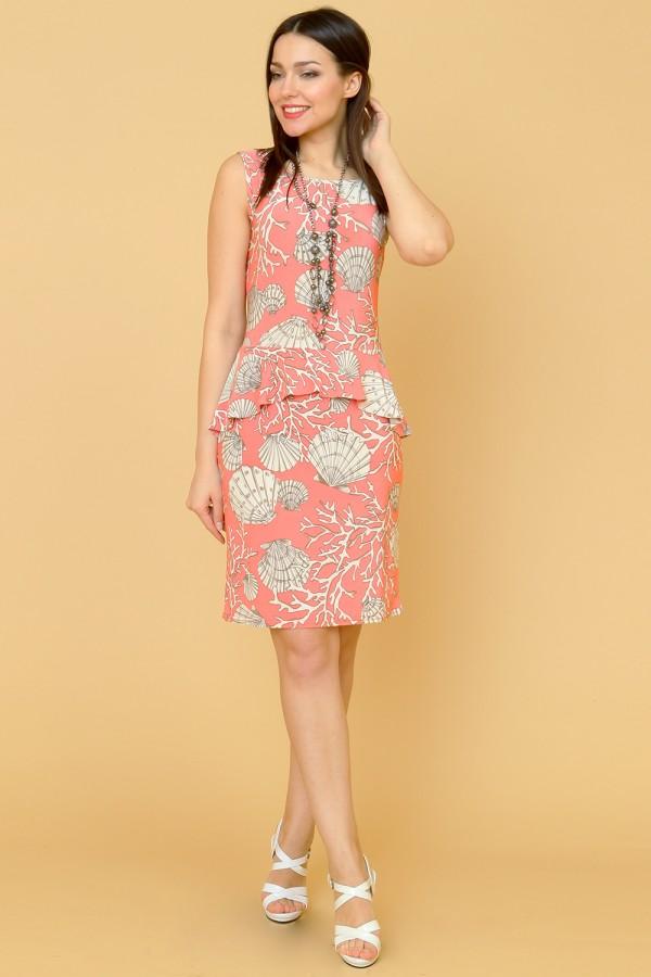 9882 Платье с ассиметричной баской.