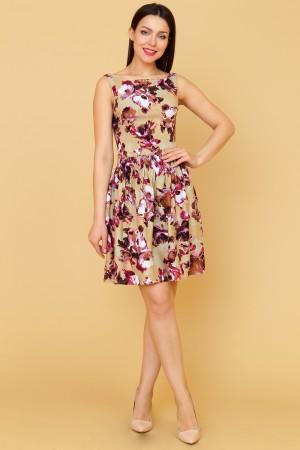 9872 Платье в цветок с широкой юбкой
