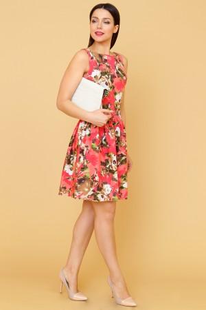 9871 Платье в цветок с широкой юбкой