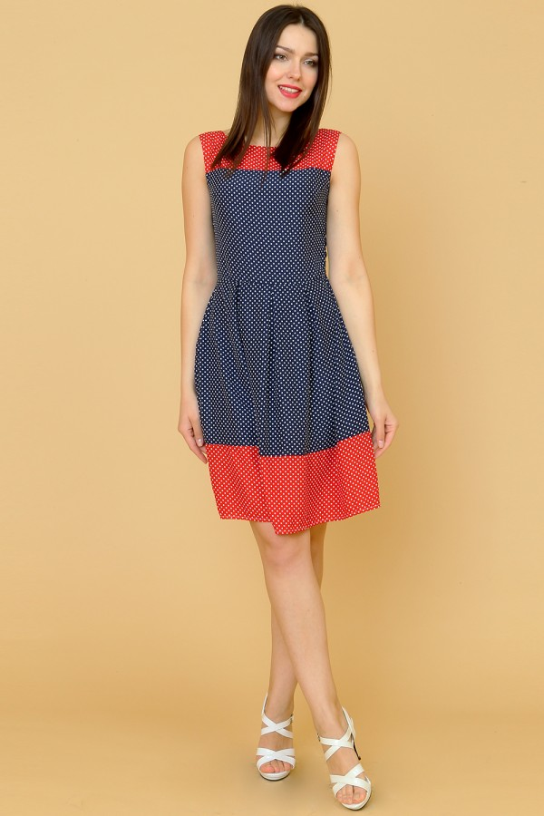 9866 Платье летнее в горох