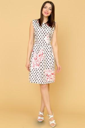 9869 Платье в горох с цветком