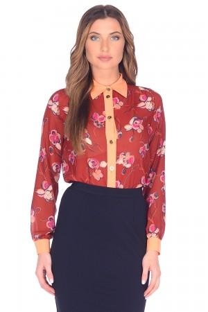 9835 Блузка-рубашка в цветок