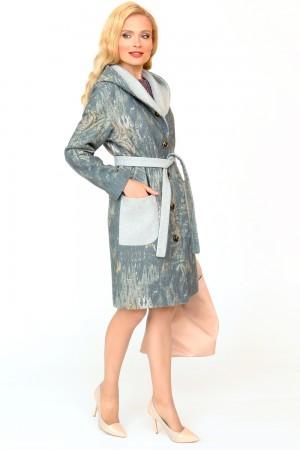 9841 Пальто прямое с капюшоном демисезонное