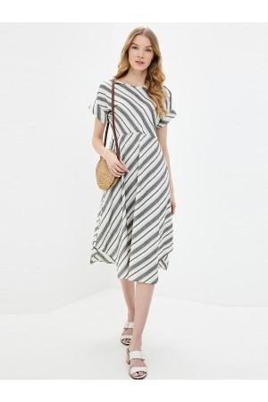9675 Платье льняное в полоску