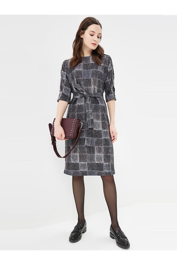 9711 Платье с кнопками на рукаве