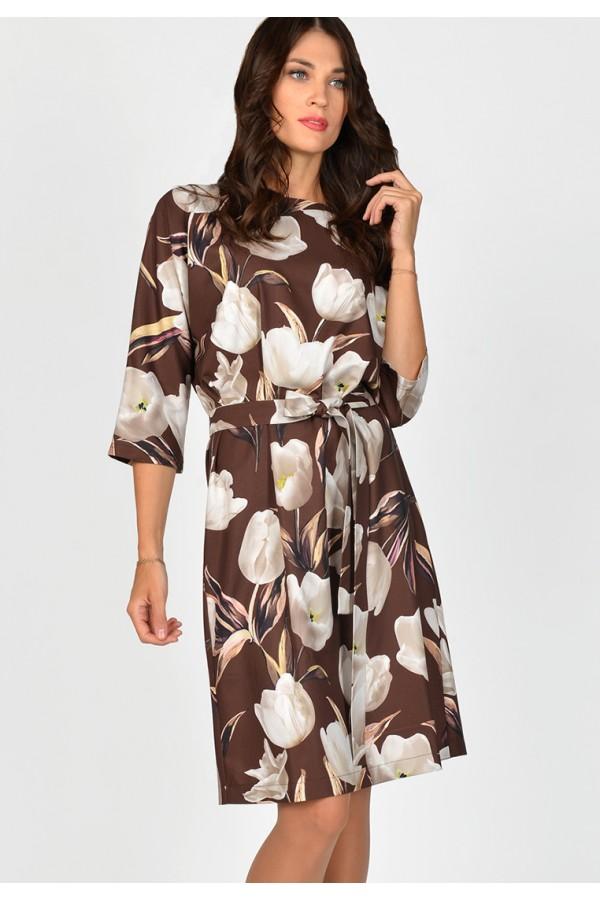 9692 Платье с цветным принтом.