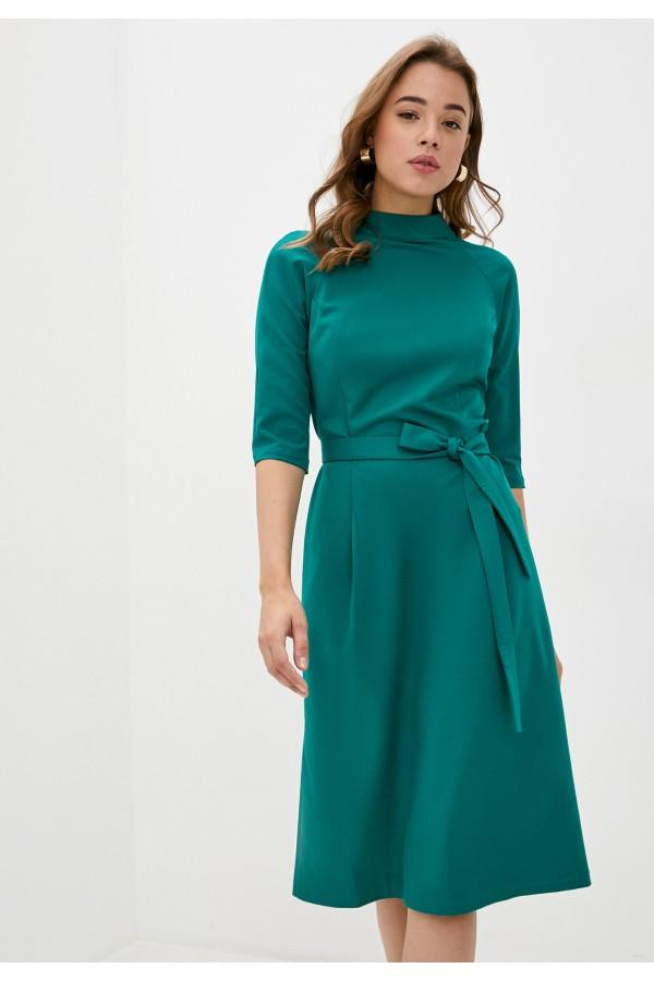 9529 Платье с воротником стойка