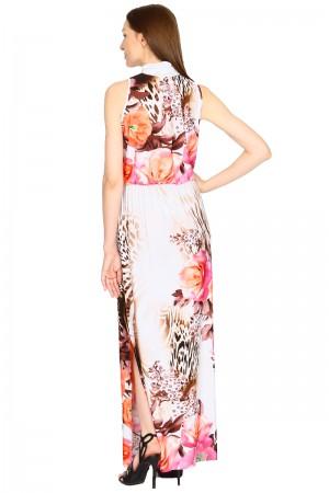 Длинное платье с высоким воротником