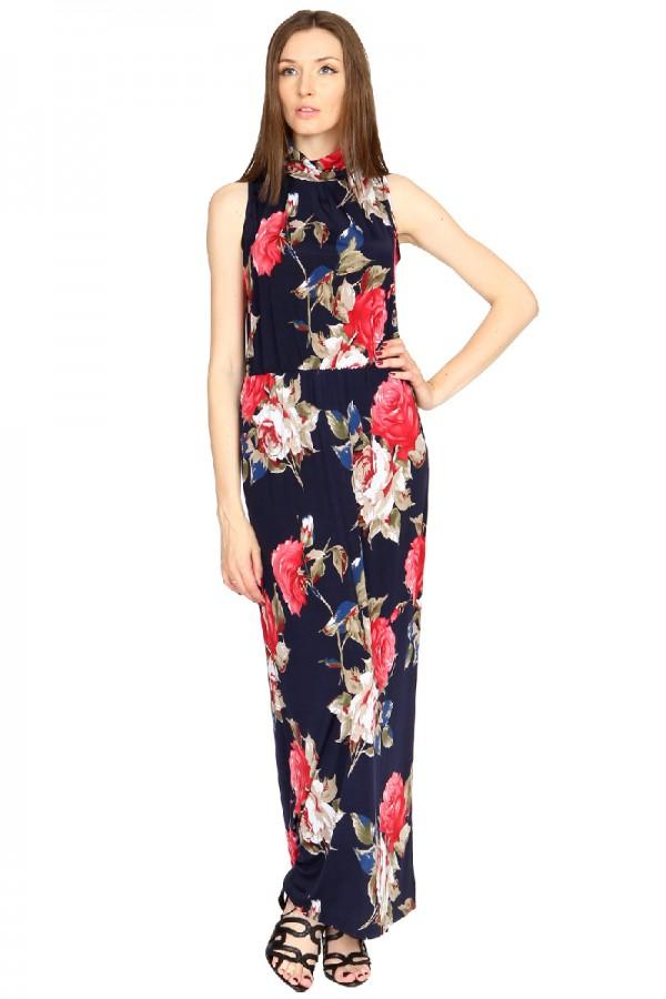 Длинное платье с рисунком из роз