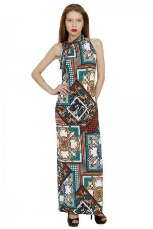 Длинное платье с платочным узором
