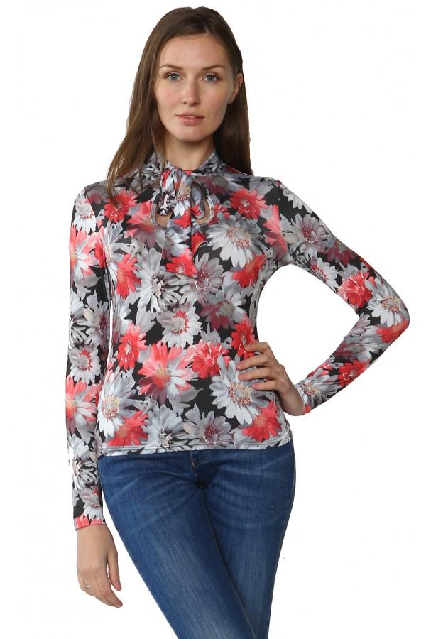 Блуза с воротником- шарфом