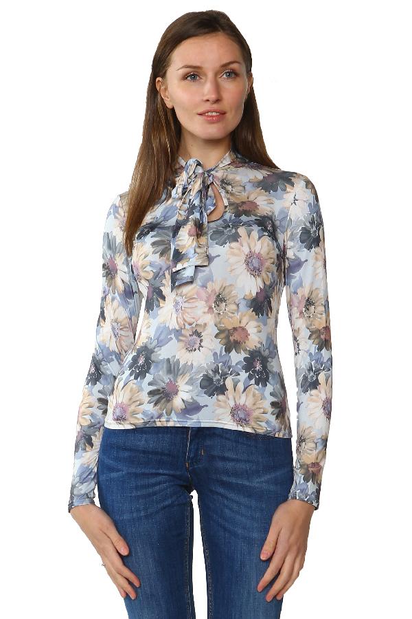 Блуза с воротником-шарфом