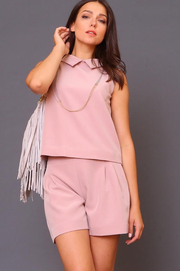 9975 Прямая блуза с воротником