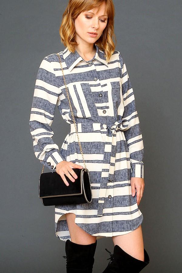 9950 Платье-рубашка с карманами