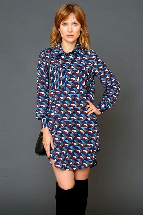 9946 Платье-рубашка с карманами