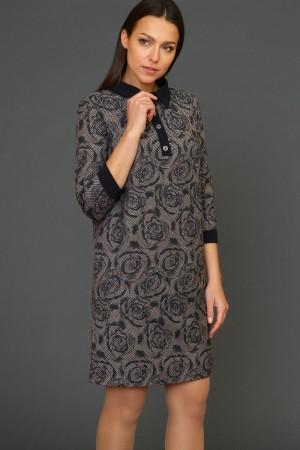 9936 Прямое платье с воротником поло.