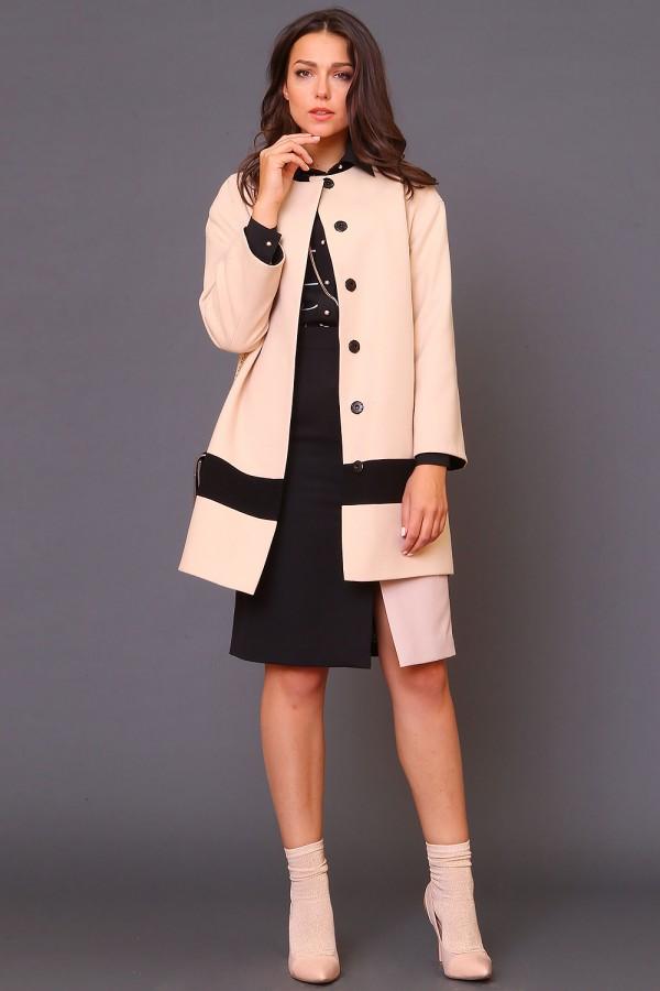 9979 Прямое пальто со спущенным рукавом